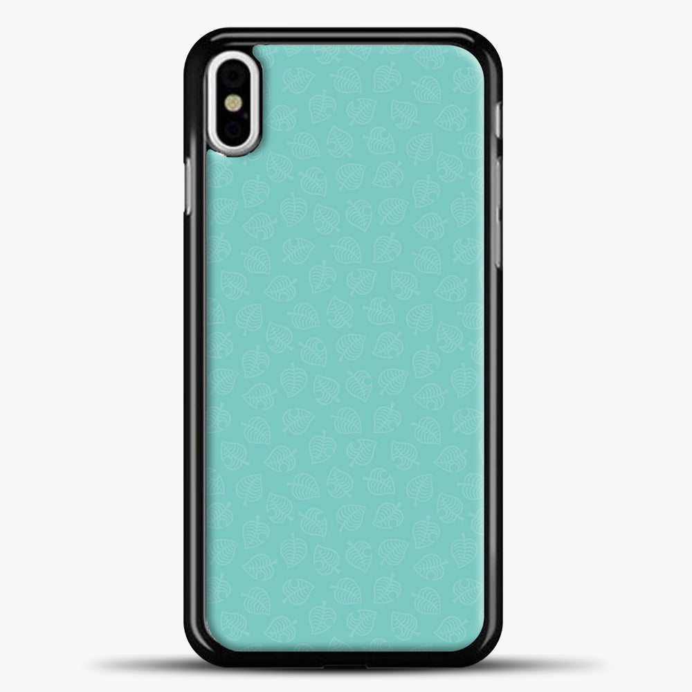 Animal Crossing Leav Pattern Background iPhone X Case, Black Plastic Case | casedilegna.com