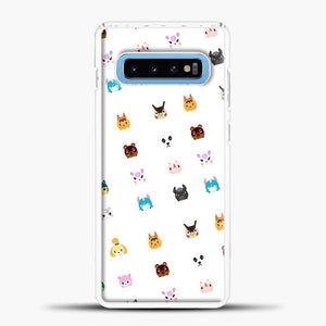 Animal Crossing New Leaf Tsum Pattern Samsung Galaxy S10 Case, White Plastic Case | casedilegna.com