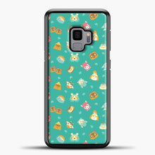 Load image into Gallery viewer, Animal Crossing Pattern Blue Samsung Galaxy S9 Case, Black Plastic Case | casedilegna.com