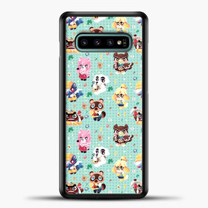 Animal Crossing Pattern Character Samsung Galaxy S10e Case, Black Plastic Case | casedilegna.com