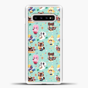 Animal Crossing Pattern Character Samsung Galaxy S10e Case, White Plastic Case | casedilegna.com
