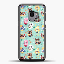 Load image into Gallery viewer, Animal Crossing Pattern Character Samsung Galaxy S9 Case, Black Plastic Case | casedilegna.com