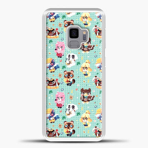 Animal Crossing Pattern Character Samsung Galaxy S9 Case, White Plastic Case | casedilegna.com