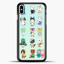 Load image into Gallery viewer, Animal Crossing Pattern Cute Green iPhone X Case, Black Plastic Case | casedilegna.com