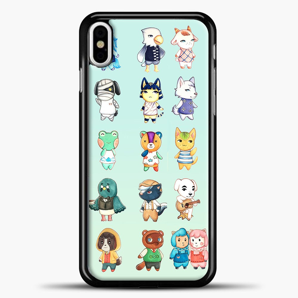 Animal Crossing Pattern Cute Green iPhone X Case, Black Plastic Case | casedilegna.com