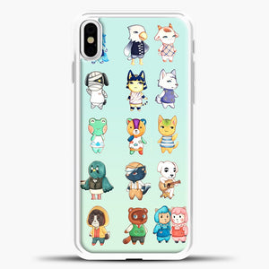 Animal Crossing Pattern Cute Green iPhone X Case, White Plastic Case | casedilegna.com