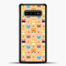 Load image into Gallery viewer, Animal Crossing Pattern Face Peach Samsung Galaxy S10e Case, Black Plastic Case | casedilegna.com