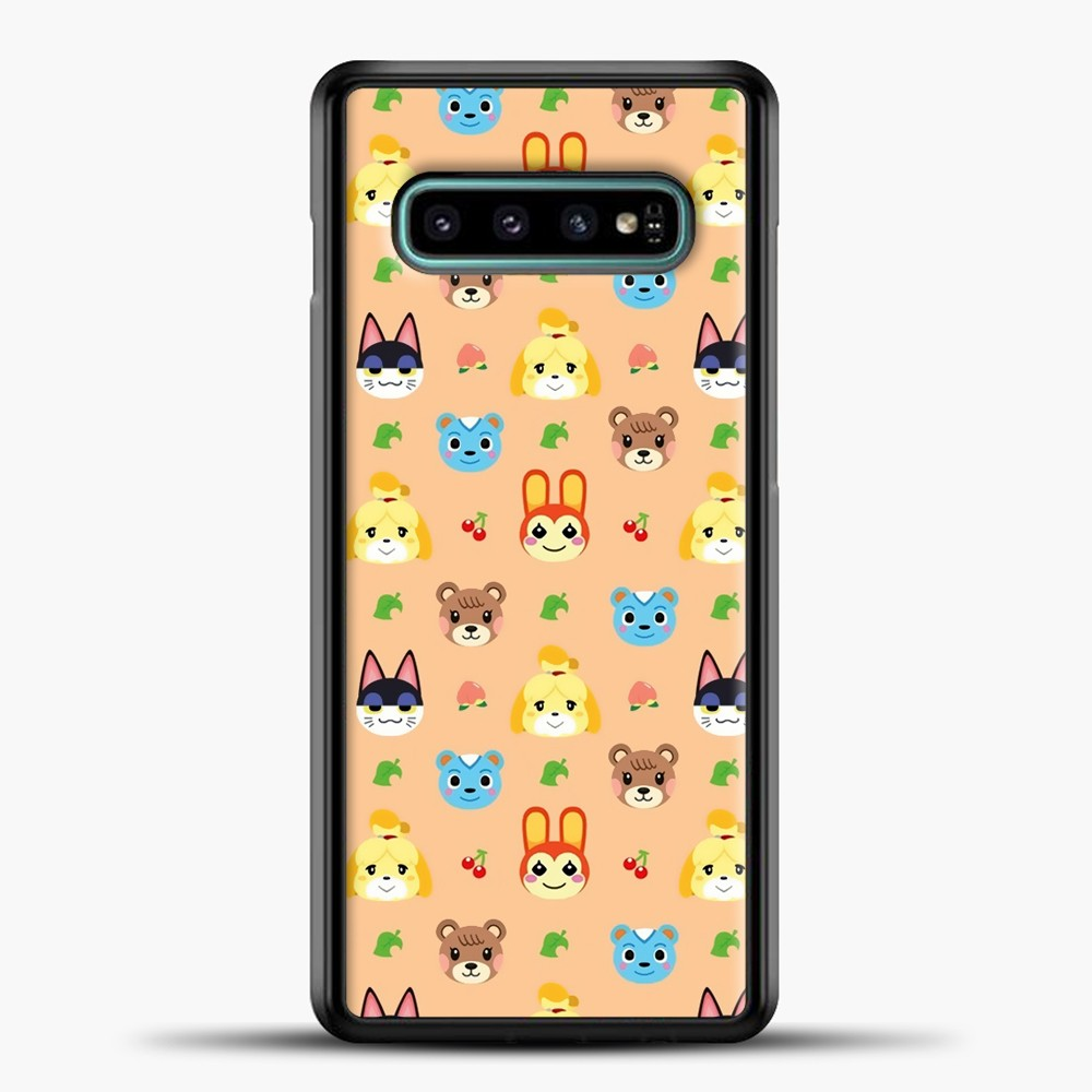 Animal Crossing Pattern Face Peach Samsung Galaxy S10e Case, Black Plastic Case | casedilegna.com
