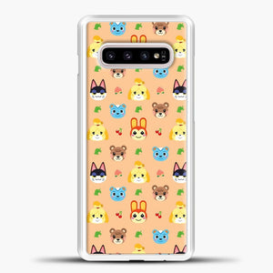 Animal Crossing Pattern Face Peach Samsung Galaxy S10e Case, White Plastic Case | casedilegna.com