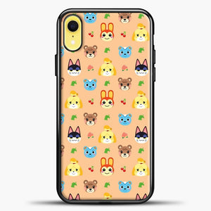 Animal Crossing Pattern Face Peach iPhone XR Case, Black Plastic Case | casedilegna.com