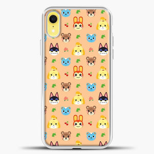 Animal Crossing Pattern Face Peach iPhone XR Case, White Plastic Case | casedilegna.com