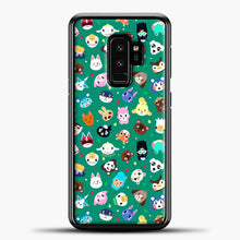 Load image into Gallery viewer, Animal Crossing Pattern Green Samsung Galaxy S9 Plus Case, Black Plastic Case | casedilegna.com