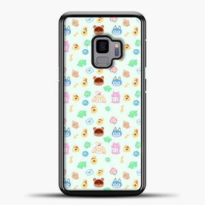Animal Crossing Pattern Green Vector Samsung Galaxy S9 Case, Black Plastic Case | casedilegna.com