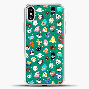 Animal Crossing Pattern Green iPhone XS Case, White Plastic Case | casedilegna.com