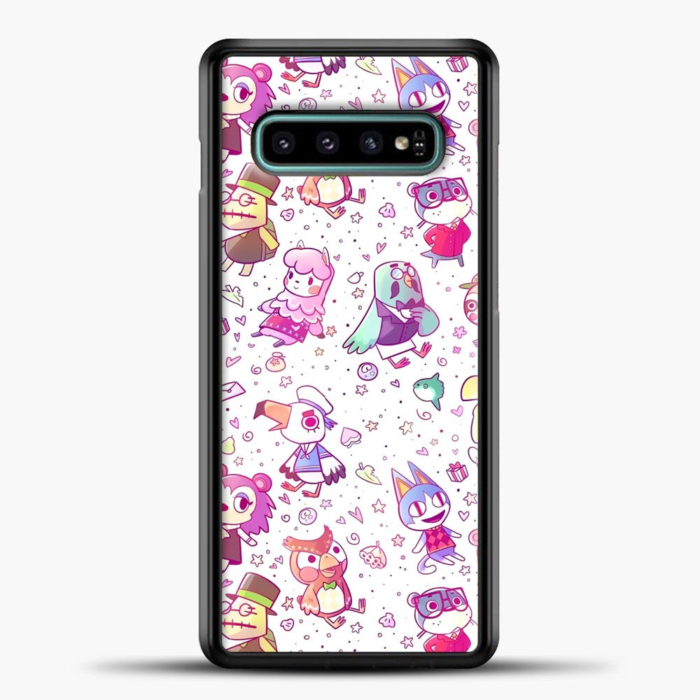 Animal Crossing Pattern Purple Line Samsung Galaxy S10e Case, Black Plastic Case | casedilegna.com