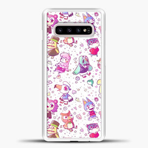 Animal Crossing Pattern Purple Line Samsung Galaxy S10e Case, White Plastic Case | casedilegna.com