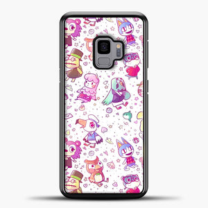Animal Crossing Pattern Purple Line Samsung Galaxy S9 Case, Black Plastic Case | casedilegna.com