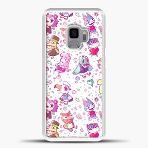 Animal Crossing Pattern Purple Line Samsung Galaxy S9 Case, White Plastic Case | casedilegna.com