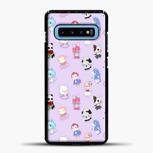 Animal Crossing Pattern Purple Samsung Galaxy S10 Case, Black Plastic Case | casedilegna.com
