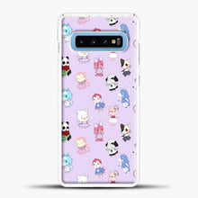 Load image into Gallery viewer, Animal Crossing Pattern Purple Samsung Galaxy S10 Case, White Plastic Case | casedilegna.com