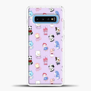 Animal Crossing Pattern Purple Samsung Galaxy S10 Case, White Plastic Case | casedilegna.com