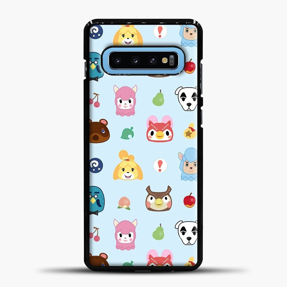 Animal Crossing Pattern Sky Blue Samsung Galaxy S10 Case, Black Plastic Case | casedilegna.com
