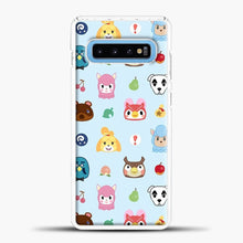 Load image into Gallery viewer, Animal Crossing Pattern Sky Blue Samsung Galaxy S10 Case, White Plastic Case | casedilegna.com