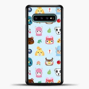 Animal Crossing Pattern Sky Blue Samsung Galaxy S10e Case, Black Plastic Case | casedilegna.com