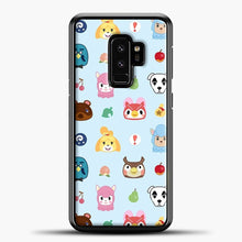 Load image into Gallery viewer, Animal Crossing Pattern Sky Blue Samsung Galaxy S9 Plus Case, Black Plastic Case | casedilegna.com