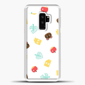 Animal Crossing Pattern Sticker Pack Samsung Galaxy S9 Plus Case, White Plastic Case | casedilegna.com
