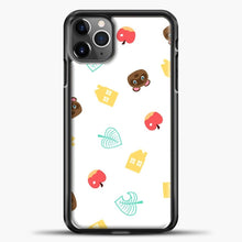 Load image into Gallery viewer, Animal Crossing Pattern Sticker Pack iPhone 11 Pro Max Case, Black Plastic Case | casedilegna.com
