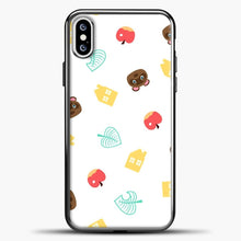 Load image into Gallery viewer, Animal Crossing Pattern Sticker Pack iPhone XS Case, Black Plastic Case | casedilegna.com