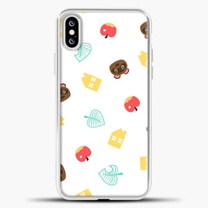 Animal Crossing Pattern Sticker Pack iPhone XS Case, White Plastic Case | casedilegna.com