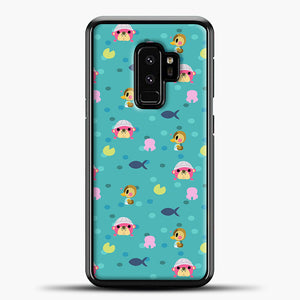 Animal Crossing Polkadot And Blue Background Samsung Galaxy S9 Plus Case, Black Plastic Case | casedilegna.com