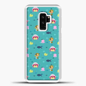 Animal Crossing Polkadot And Blue Background Samsung Galaxy S9 Plus Case, White Plastic Case | casedilegna.com