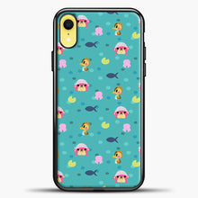 Load image into Gallery viewer, Animal Crossing Polkadot And Blue Background iPhone XR Case, Black Plastic Case | casedilegna.com