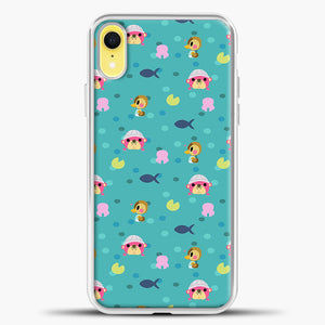 Animal Crossing Polkadot And Blue Background iPhone XR Case, White Plastic Case | casedilegna.com