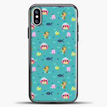 Load image into Gallery viewer, Animal Crossing Polkadot And Blue Background iPhone XS Case, Black Plastic Case | casedilegna.com