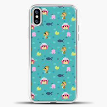 Load image into Gallery viewer, Animal Crossing Polkadot And Blue Background iPhone XS Case, White Plastic Case | casedilegna.com
