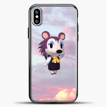 Load image into Gallery viewer, Animal Crossing Puprple Clouds iPhone XS Case, Black Plastic Case | casedilegna.com