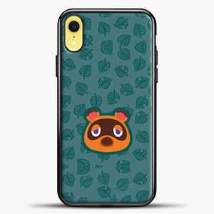 Animal Crossing Sketch Leaves iPhone XR Case, Black Plastic Case | casedilegna.com