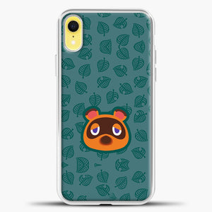 Animal Crossing Sketch Leaves iPhone XR Case, White Plastic Case | casedilegna.com