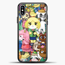 Load image into Gallery viewer, Animal Crossing Some Animals iPhone XS Max Case, Black Plastic Case | casedilegna.com