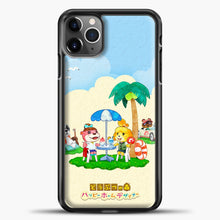 Load image into Gallery viewer, Animal Crossing Under The Coconut Tree iPhone 11 Pro Max Case, Black Plastic Case | casedilegna.com