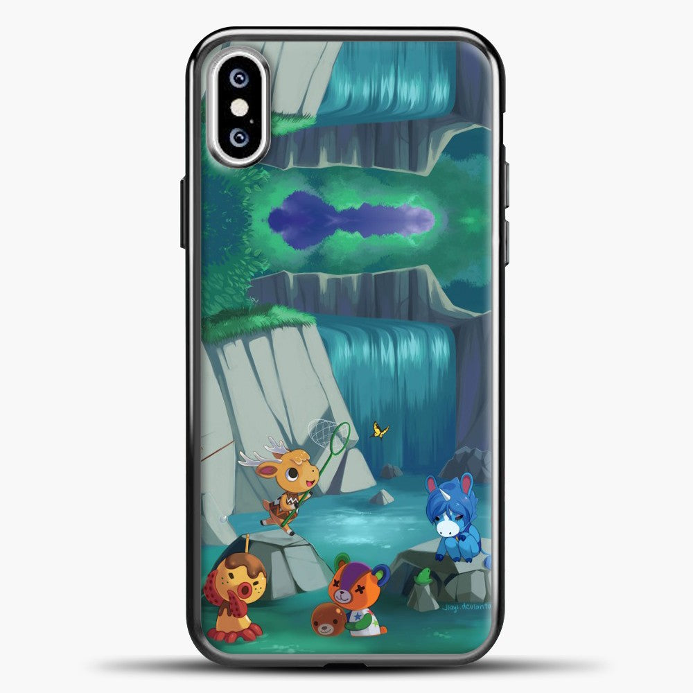 Animal Crossing Waterfall And Some Animal iPhone XS Case, Black Plastic Case | casedilegna.com