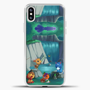 Animal Crossing Waterfall And Some Animal iPhone XS Case, White Plastic Case | casedilegna.com