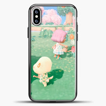 Load image into Gallery viewer, Animal Crossing Watering The Flowers iPhone XS Case, Black Plastic Case | casedilegna.com