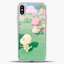 Load image into Gallery viewer, Animal Crossing Watering The Flowers iPhone XS Case, White Plastic Case | casedilegna.com