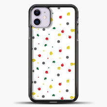 Load image into Gallery viewer, Animal Crossing White Backgground Pattern iPhone 11 Case, Black Plastic Case | casedilegna.com