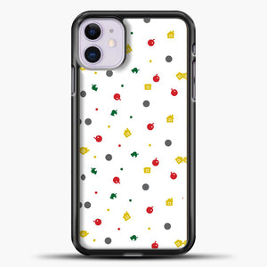 Animal Crossing White Backgground Pattern iPhone 11 Case, Black Plastic Case | casedilegna.com